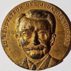 1963 médaille Pierre de Coubertin, centenaire de sa naissance, cinquantenaire du comité olympique recto
