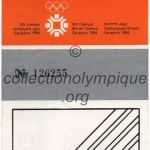 1984 Sarajevo olympique ticket opening ceremony recto