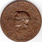 1968 Grenoble médaille olympique participant recto, bronze - athlètes - 68 mm - designer J.M. COEFFIN