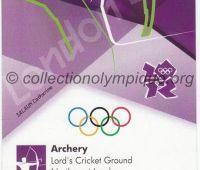 2012 Londres billet d'entrée olympique session tir à l'arc