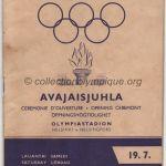 1952 Helsinki programme olympique cérémonie ouverture