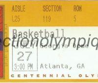 1996 Atlanta billet d'entrée olympique session basketball