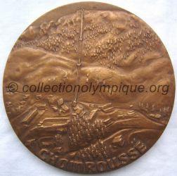 1968 Grenoble médaille commémorative Chamrousse, remise au président du COJO, Albert Michallon, recto