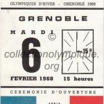 1968 Grenoble olympic ticket opening ceremony recto