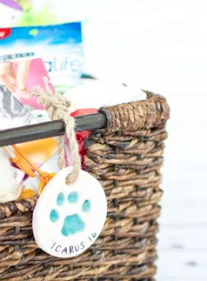 Cat Holiday Basket + DIY Paw Print Ornament