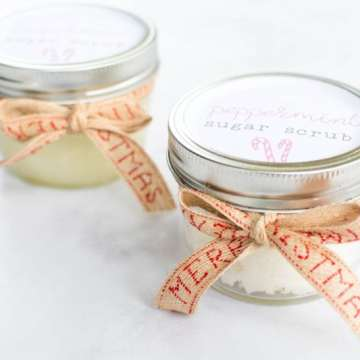 DIY peppermint scrub and mason jar lid printable