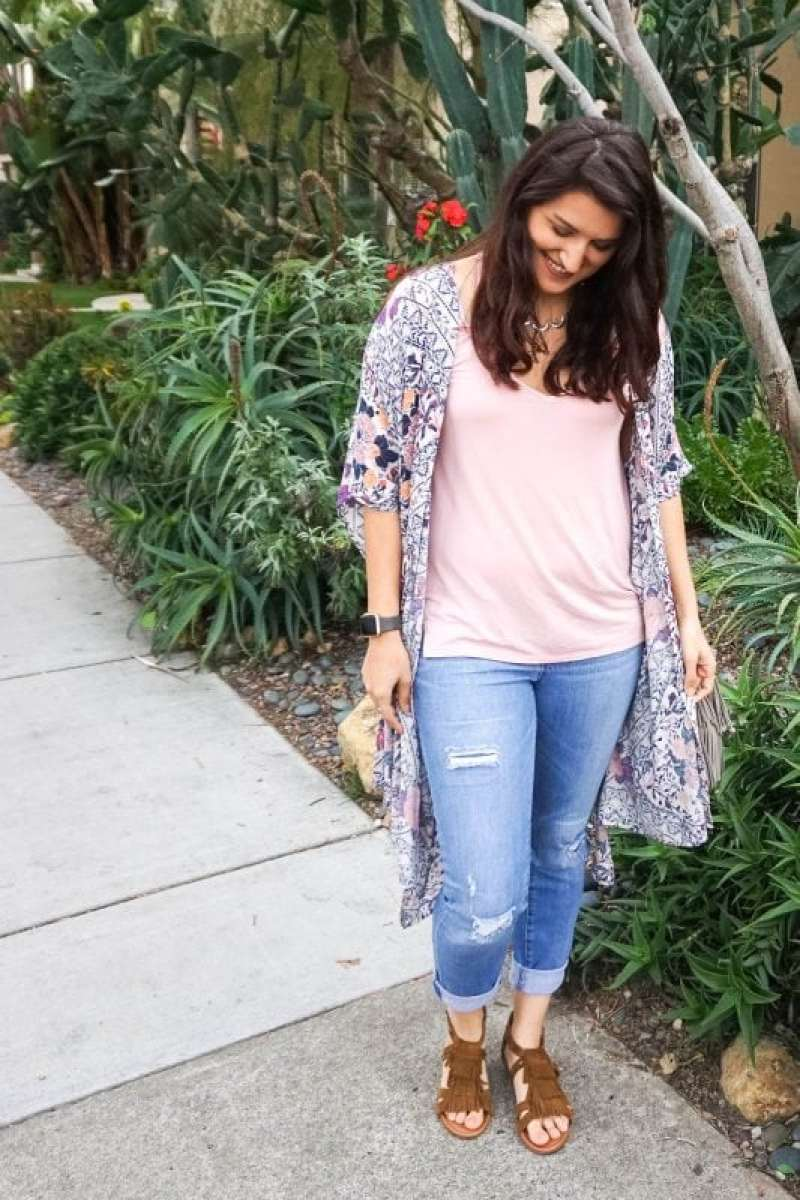 springtime outfit with kimono and fringe