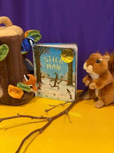 Stick Man book with a cuddly squirrel and tree