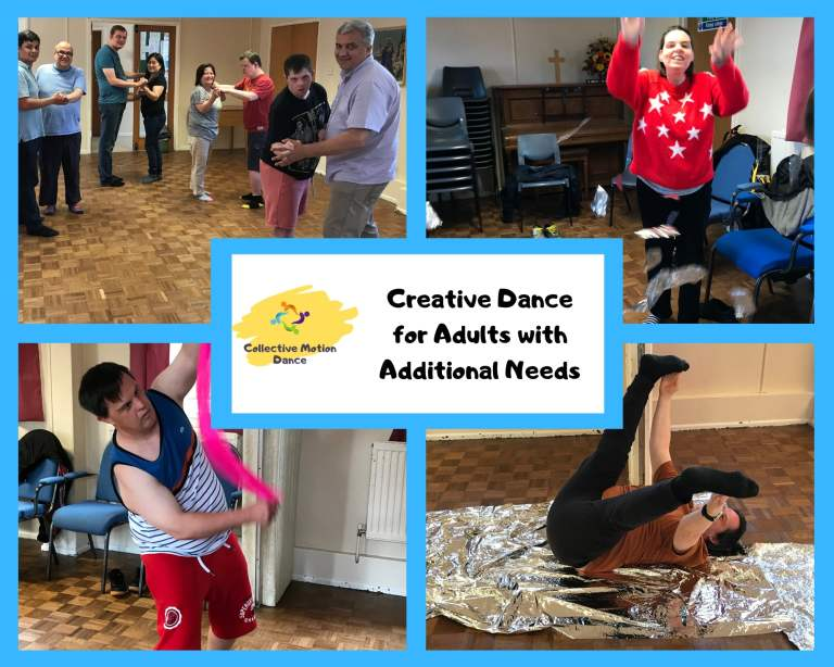 Four photographs of adults with learning disabilities dancing. Blue border.