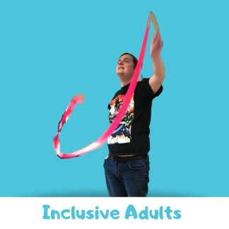 Man with autism dancing with a ribbon on a blue background. Text: inclusive adults on the bottom