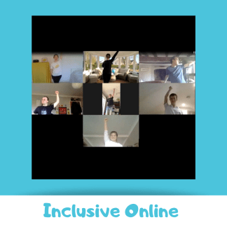 Zoom screen shot of young people punching the air. Blue background and the text reads 'inclusive online'