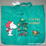 Snoopy and Woodstock by Christmas Tree Green Tote Bag