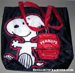 Snoopy with Doghouse pouch Foldable Tote Bag