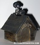 Snoopy on Doghouse at typewriter Silverplated Bank