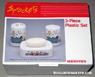 Snoopy & Woodstock bathing in tub 3-Piece Bath Set - Cup, Soap Dish, Toothbrush Holder