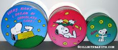 Snoopy eating treats Set of 3 Tin Canisters