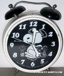 Snoopy dancing with Peanuts Gang in background Large Alarm Clock - White & Black