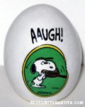 Snoopy biting tennis racquet 'AAUGH!' Egg Figurine