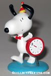Snoopy celebrating New Year's with clock figurine