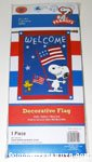 Snoopy & Woodstock holding American flags 'Welcome' Flag