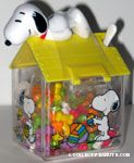 Snoopy laying on Easter decorated doghouse Candy Container