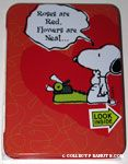 Snoopy writing poem Valentine's Candy Tin