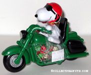 Snoopy riding green motorcycle Candy Container