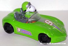 Snoopy driving green racecar Candy Container