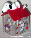 Snoopy laying on Valentine's Day decorated doghouse Candy Container