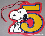 Snoopy dancing with number 5 Gift Tag