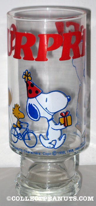 Snoopy with gift and Woodstock 'Surprise' Glass