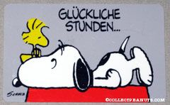 Snoopy laying on doghouse with Woodstock on his nose 'Gluckliche stunden... sind stunden mit dir!' Wallet Greeting Card