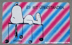 Snoopy laying on musical notes 'Es ist uberstanden... und nun lass es dir gutgehen!' Wallet Greeting Card