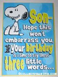 Snoopy 'Son' Birthday Greeting Card