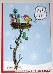 Woodstock in nest Christmas Card