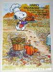 Snoopy with roast turkey Thanksgiving Greeting Card