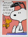Snoopy & Woodstock on doghouse Greeting Card