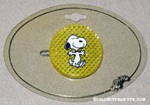 Snoopy dancing on yellow checked background Barrette