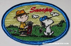 Snoopy golfing with Charlie Brown Patch Pin