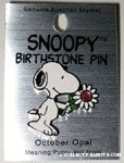 Snoopy holding birthstone flower Pin - October