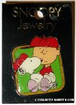 Snoopy sitting in Charlie Brown's lap Pin