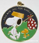 Snoopy with Hobo Pack and Woodstock walking 'Friends are for Sharing' Pendant
