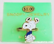 Snoopy dancing in blue shirt Ring