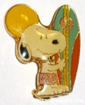 Snoopy holding surfboard Pin