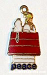 Snoopy & Woodstock on doghouse 'Peace' Charm