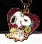 Snoopy & Woodstock in heart with flowers Necklace