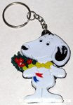 Snoopy holding bouquet of flowers Keychain