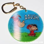 Lucy pulling football from Charlie Brown Flasher Keychain