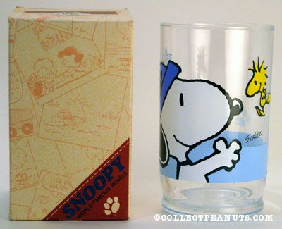 Snoopy wearing hat and Woodstock background Glass