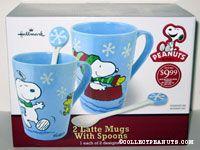 Snoopy & Woodstock winter scenes set of two Latte Mugs